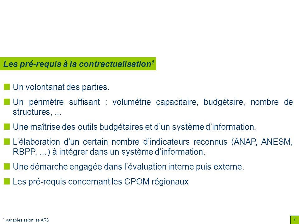 7 Un volontariat des parties. Un périmètre suffisant : volumétrie capacitaire, budgétaire, nombre de structures, … Une maîtrise des outils budgétaires