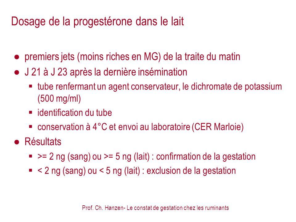 Prof. Ch. Hanzen- Le constat de gestation chez les ruminants Dosage de la progestérone dans le lait premiers jets (moins riches en MG) de la traite du