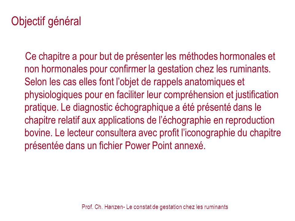 Prof. Ch. Hanzen- Le constat de gestation chez les ruminants Objectif général Ce chapitre a pour but de présenter les méthodes hormonales et non hormo