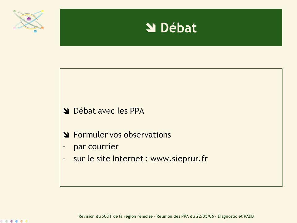 Révision du SCOT de la région rémoise – Réunion des PPA du 22/05/06 – Diagnostic et PADD Débat Débat avec les PPA Formuler vos observations -par courr