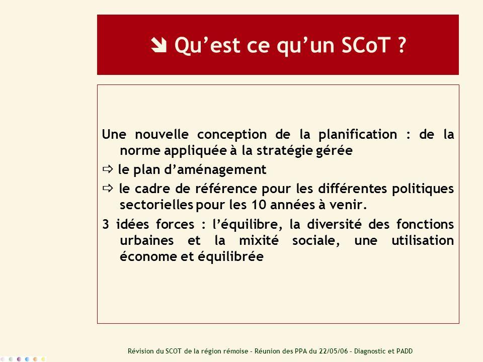Révision du SCOT de la région rémoise – Réunion des PPA du 22/05/06 – Diagnostic et PADD Quest ce quun SCoT ? Une nouvelle conception de la planificat