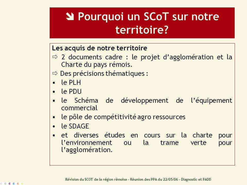 Révision du SCOT de la région rémoise – Réunion des PPA du 22/05/06 – Diagnostic et PADD Pourquoi un SCoT sur notre territoire? Les acquis de notre te