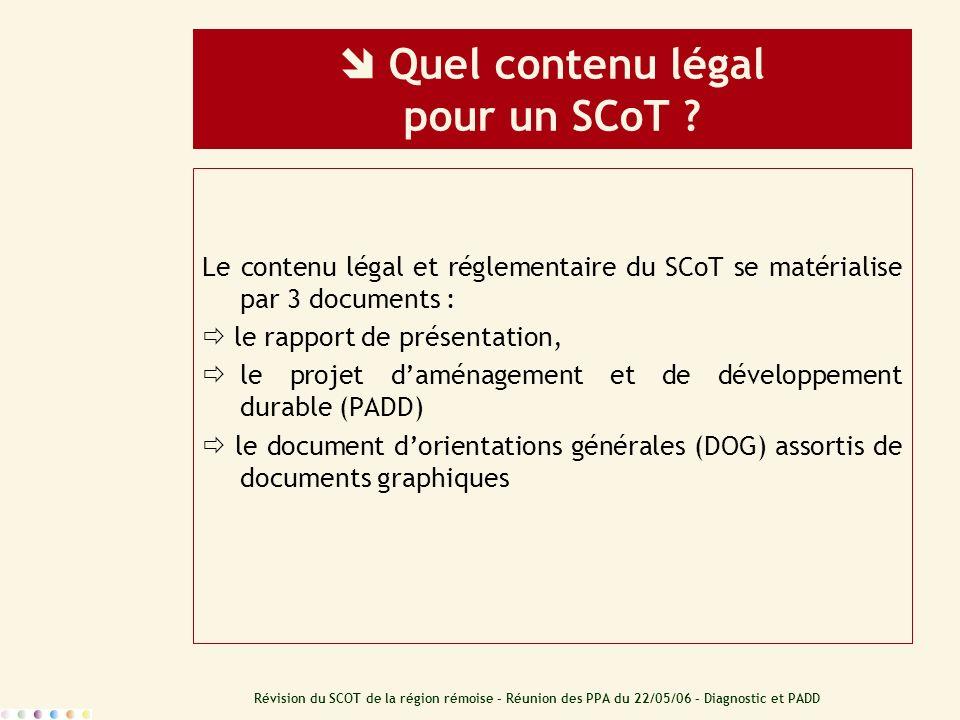Révision du SCOT de la région rémoise – Réunion des PPA du 22/05/06 – Diagnostic et PADD Quel contenu légal pour un SCoT ? Le contenu légal et régleme
