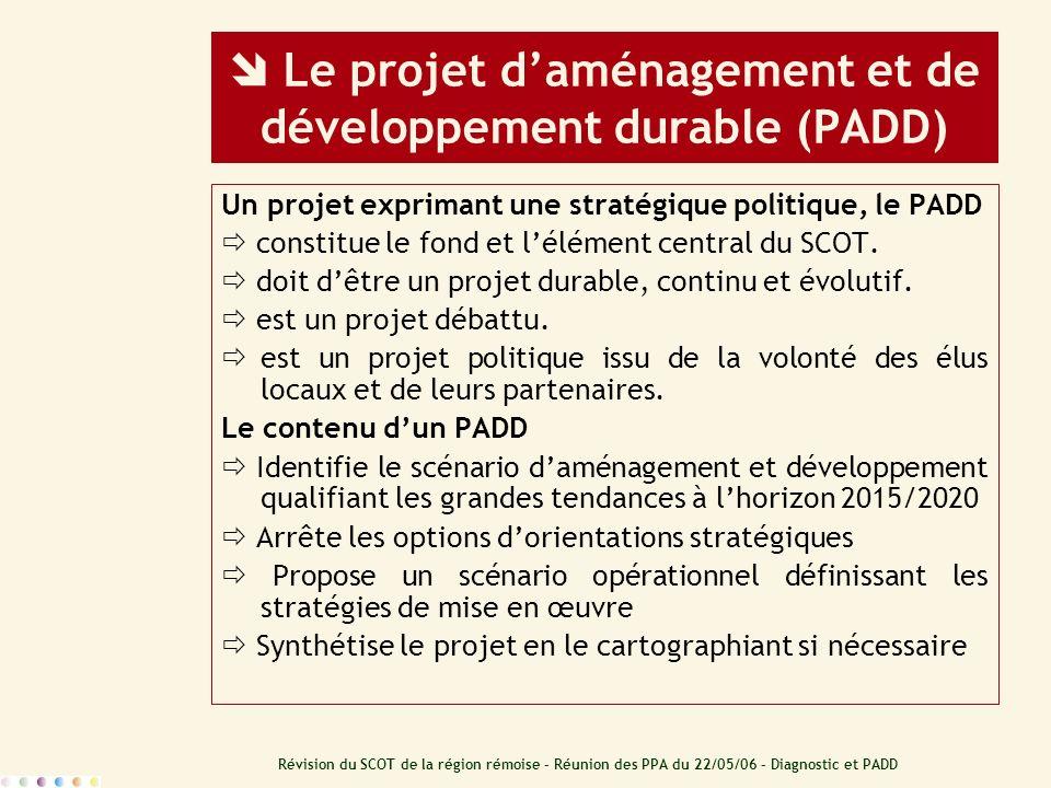 Révision du SCOT de la région rémoise – Réunion des PPA du 22/05/06 – Diagnostic et PADD Le projet daménagement et de développement durable (PADD) Un