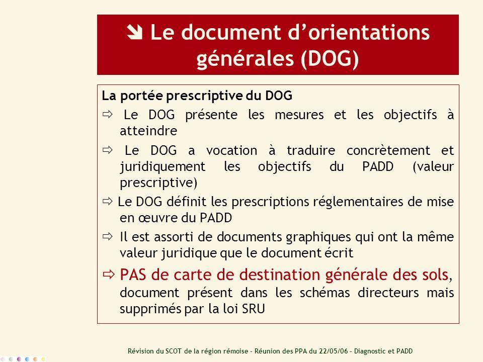 Révision du SCOT de la région rémoise – Réunion des PPA du 22/05/06 – Diagnostic et PADD Le document dorientations générales (DOG) La portée prescript