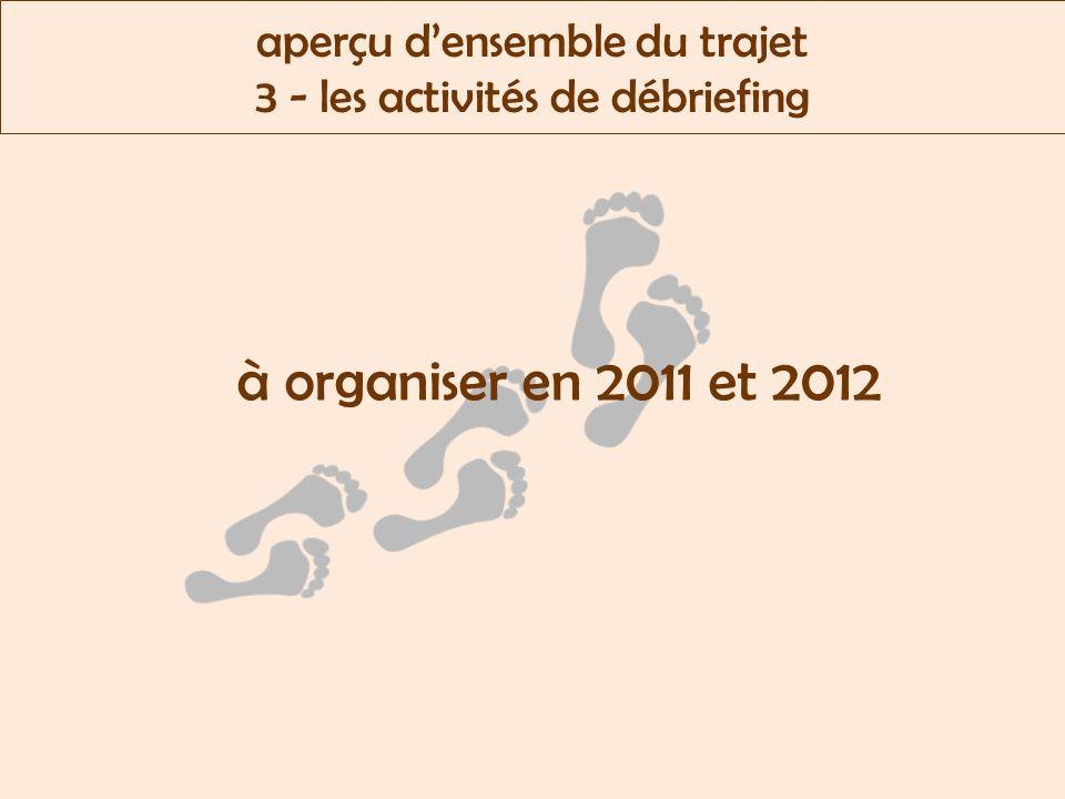 aperçu densemble du trajet 3 - les activités de débriefing à organiser en 2011 et 2012