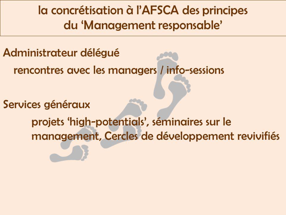 la concrétisation à lAFSCA des principes du Management responsable Administrateur délégué rencontres avec les managers / info-sessions Services généraux projets high-potentials, séminaires sur le management, Cercles de développement revivifiés