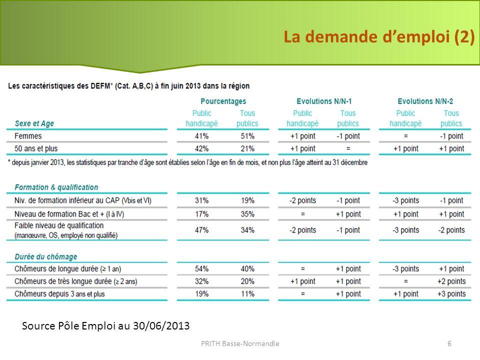 Source Pôle Emploi au 30/06/2013 La demande demploi (3) PRITH Basse-Normandie7