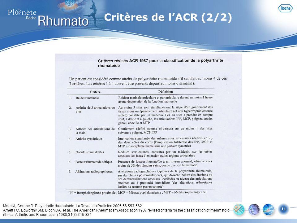 11 Critères de lACR (2/2) Morel J, Combe B. Polyarthrite rhumatoïde. La Revue du Praticien 2006;56:553-562 Arnett FC, Edworthy SM, Bloch DA, et al. Th