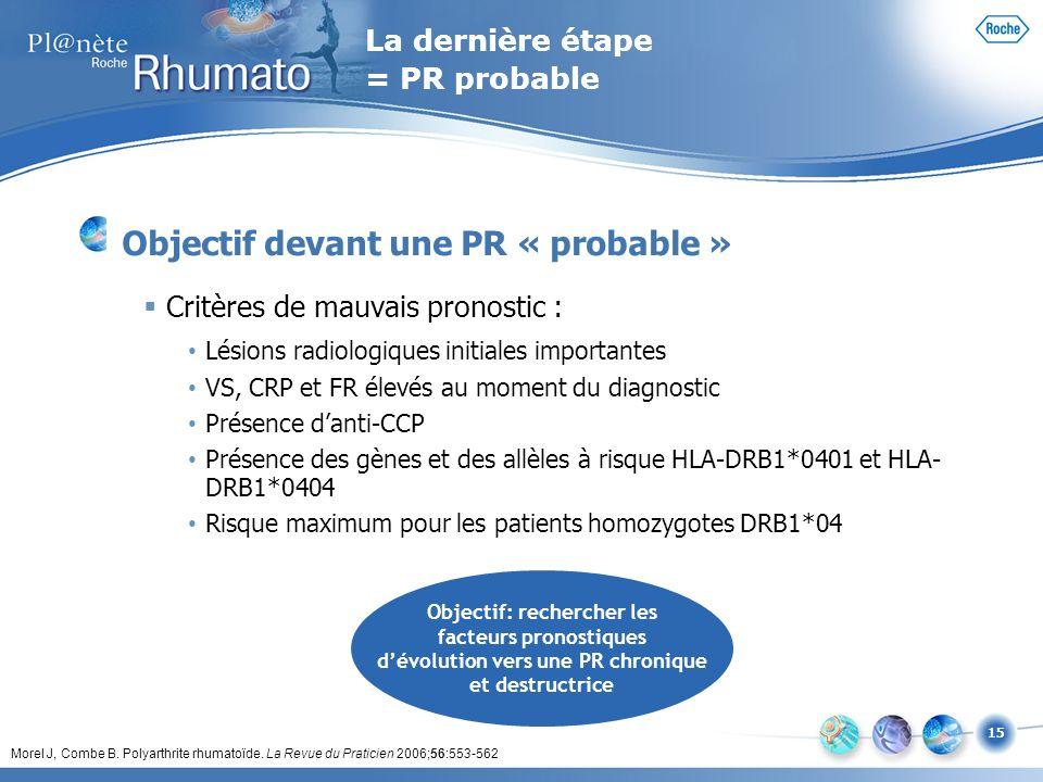 15 La dernière étape = PR probable Objectif devant une PR « probable » Critères de mauvais pronostic : Lésions radiologiques initiales importantes VS,