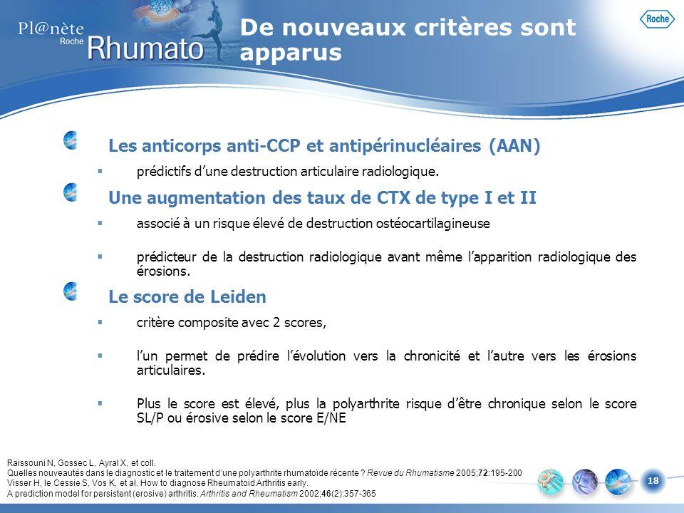 18 Les anticorps anti-CCP et antipérinucléaires (AAN) prédictifs dune destruction articulaire radiologique. Une augmentation des taux de CTX de type I