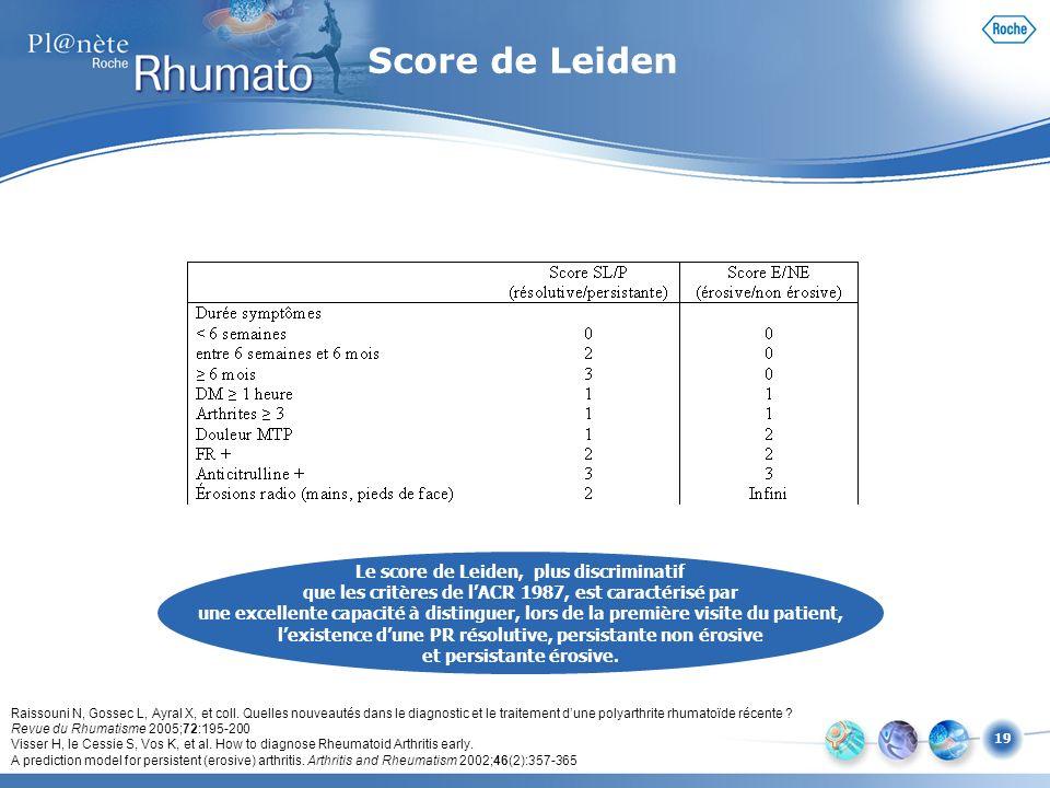 19 Le score de Leiden, plus discriminatif que les critères de lACR 1987, est caractérisé par une excellente capacité à distinguer, lors de la première