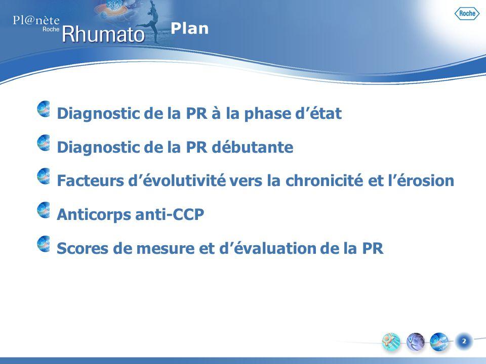 2 Plan Diagnostic de la PR à la phase détat Diagnostic de la PR débutante Facteurs dévolutivité vers la chronicité et lérosion Anticorps anti-CCP Scor