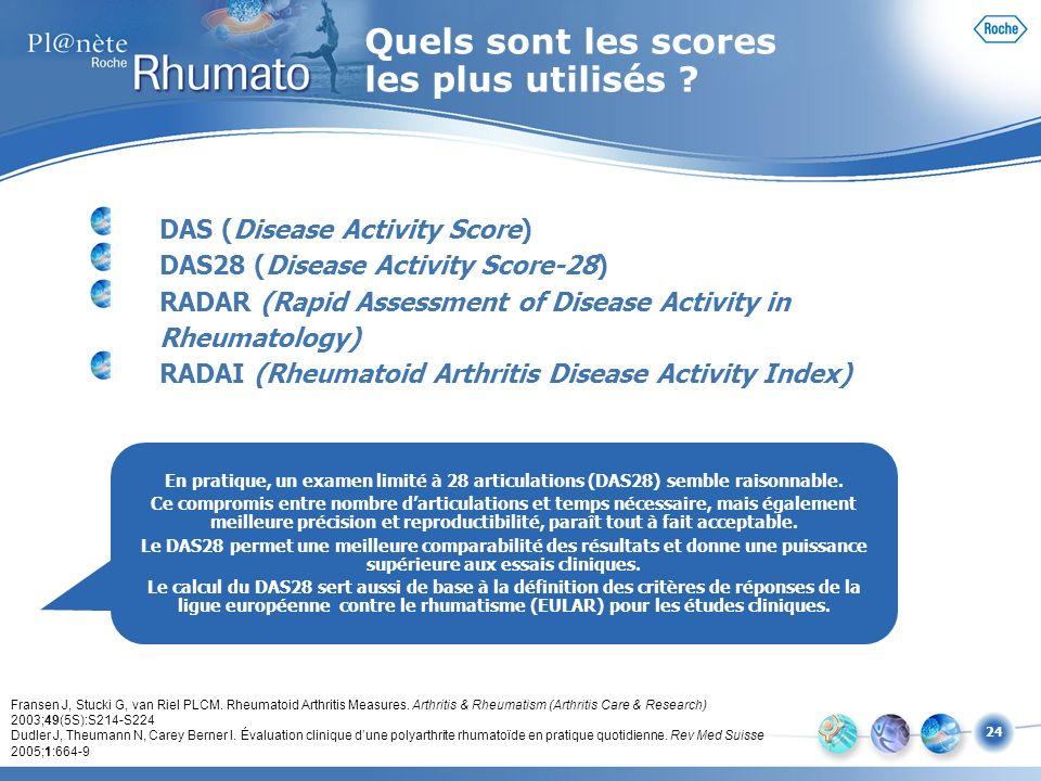24 DAS (Disease Activity Score) DAS28 (Disease Activity Score-28) RADAR (Rapid Assessment of Disease Activity in Rheumatology) RADAI (Rheumatoid Arthr