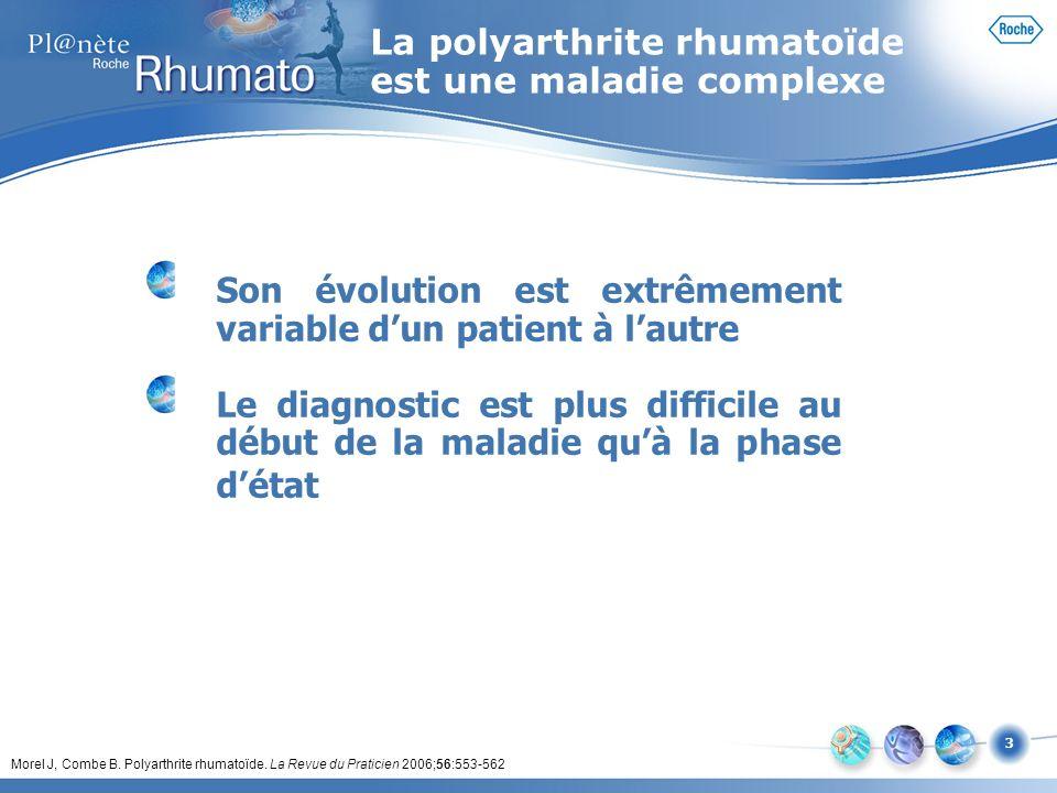 3 Son évolution est extrêmement variable dun patient à lautre Le diagnostic est plus difficile au début de la maladie quà la phase détat Morel J, Comb