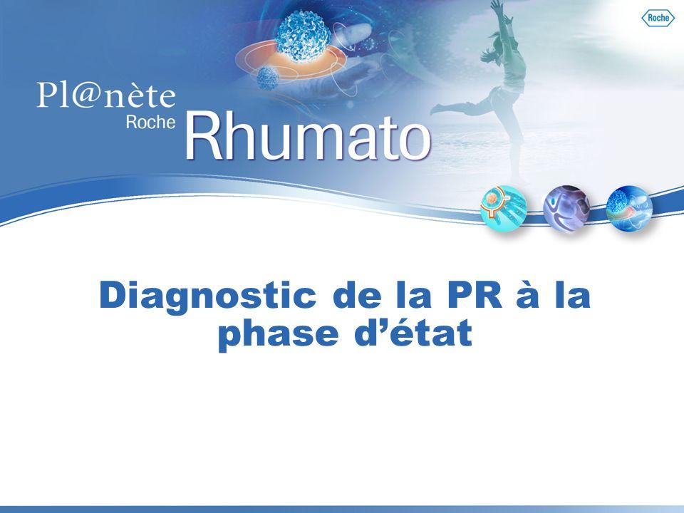 15 La dernière étape = PR probable Objectif devant une PR « probable » Critères de mauvais pronostic : Lésions radiologiques initiales importantes VS, CRP et FR élevés au moment du diagnostic Présence danti-CCP Présence des gènes et des allèles à risque HLA-DRB1*0401 et HLA- DRB1*0404 Risque maximum pour les patients homozygotes DRB1*04 Objectif: rechercher les facteurs pronostiques dévolution vers une PR chronique et destructrice Morel J, Combe B.