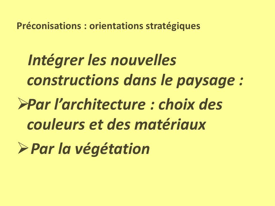 Préconisations : orientations stratégiques Maîtriser létalement urbain : Préserver la silhouette des villages Préserver les espaces de qualité (coteau