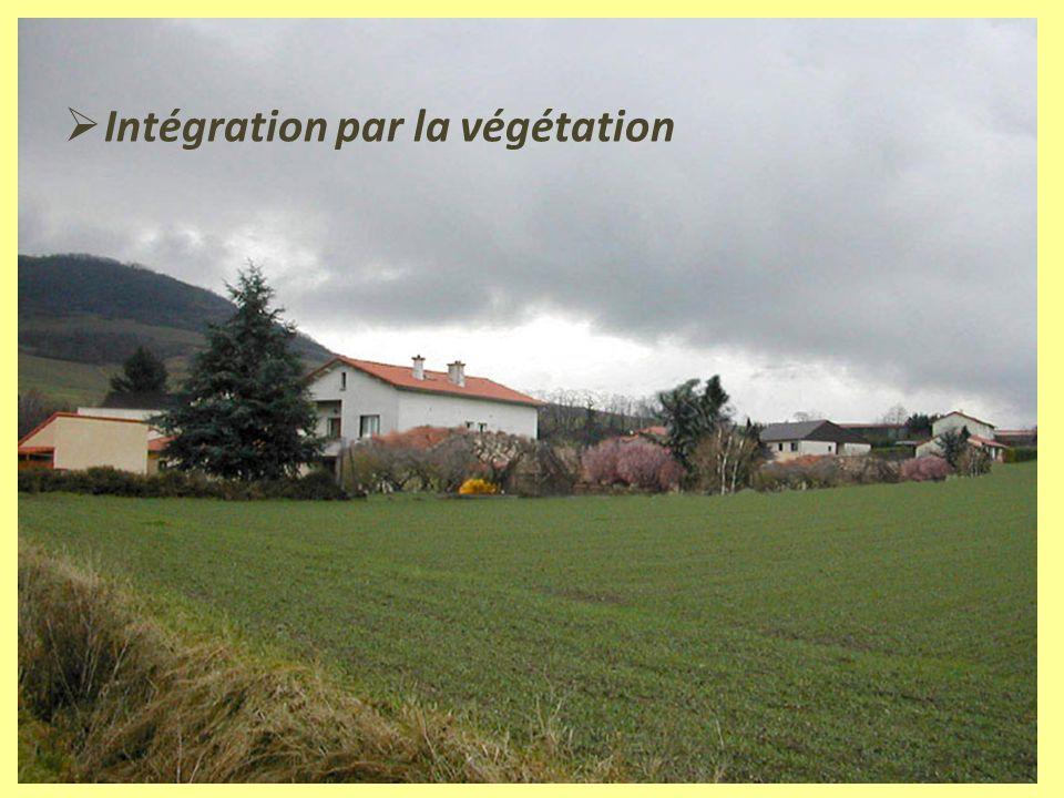 Préconisations : orientations stratégiques Intégrer les nouvelles constructions dans le paysage : Par larchitecture : choix des couleurs et des matériaux Par la végétation