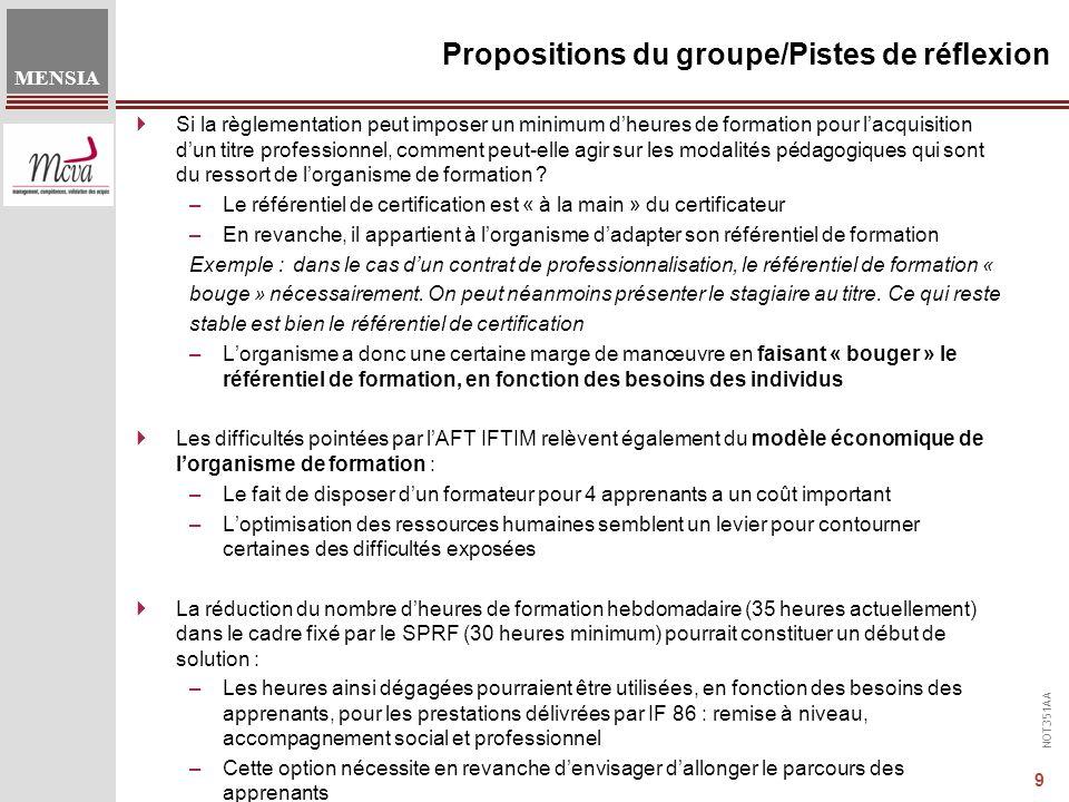 NOT351AA MENSIA 9 Propositions du groupe/Pistes de réflexion Si la règlementation peut imposer un minimum dheures de formation pour lacquisition dun titre professionnel, comment peut-elle agir sur les modalités pédagogiques qui sont du ressort de lorganisme de formation .