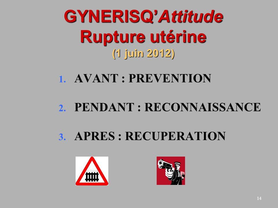 14 GYNERISQAttitude Rupture utérine (1 juin 2012) 1. AVANT : PREVENTION 2. PENDANT : RECONNAISSANCE 3. APRES : RECUPERATION