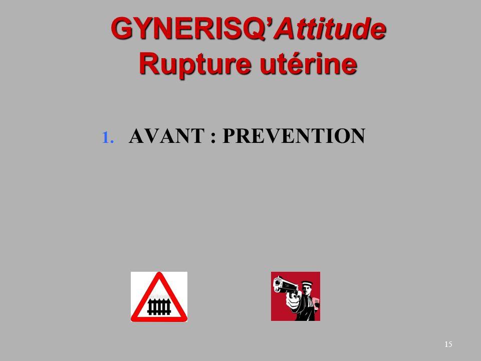15 GYNERISQAttitude Rupture utérine 1. AVANT : PREVENTION