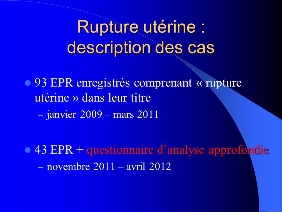 Rupture utérine : description des cas 93 EPR enregistrés comprenant « rupture utérine » dans leur titre – janvier 2009 – mars 2011 questionnaire danal