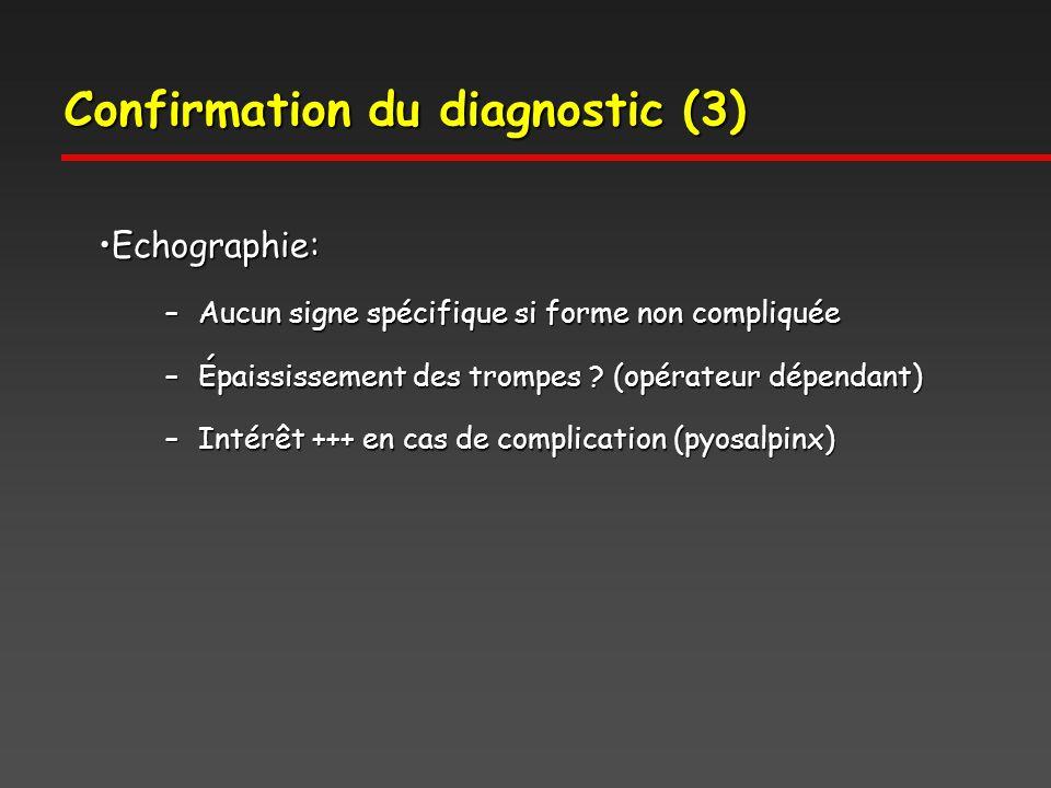 Confirmation du diagnostic (3) Echographie:Echographie: –Aucun signe spécifique si forme non compliquée –Épaississement des trompes .