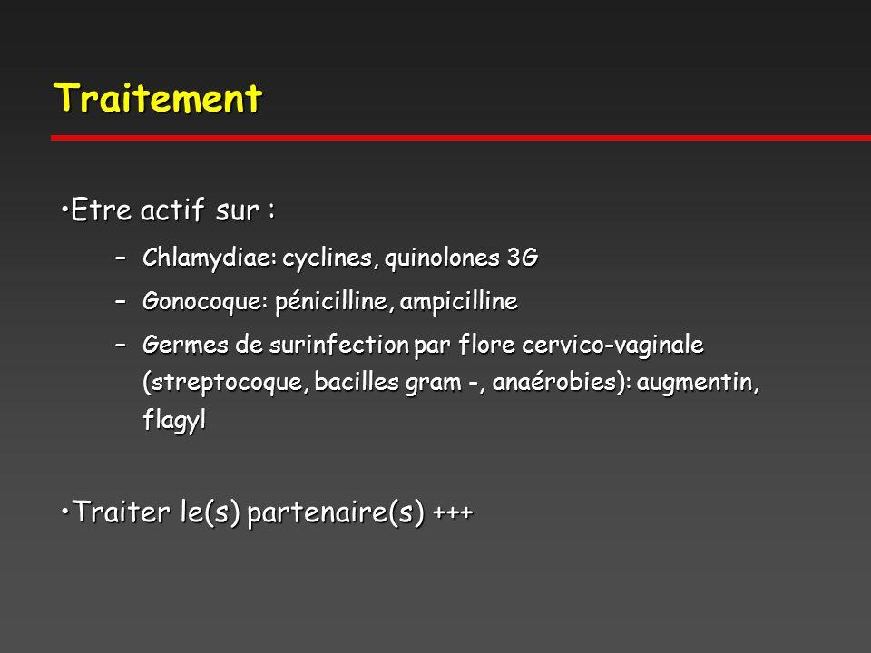 Traitement Etre actif sur :Etre actif sur : –Chlamydiae: cyclines, quinolones 3G –Gonocoque: pénicilline, ampicilline –Germes de surinfection par flore cervico-vaginale (streptocoque, bacilles gram -, anaérobies): augmentin, flagyl Traiter le(s) partenaire(s) +++Traiter le(s) partenaire(s) +++