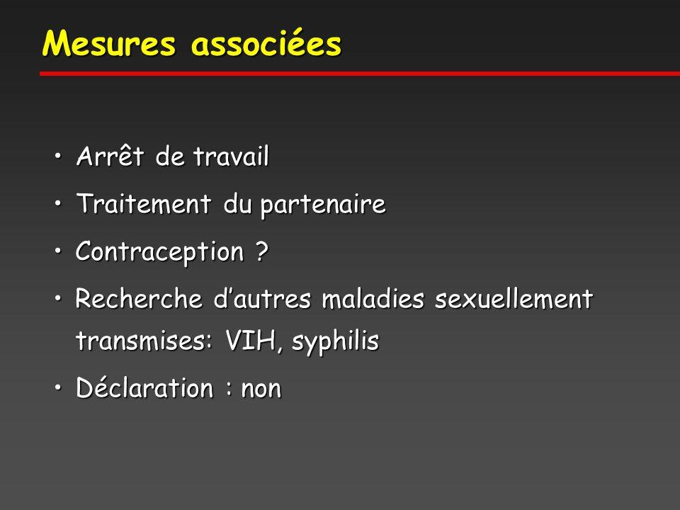 Mesures associées Arrêt de travailArrêt de travail Traitement du partenaireTraitement du partenaire Contraception ?Contraception .
