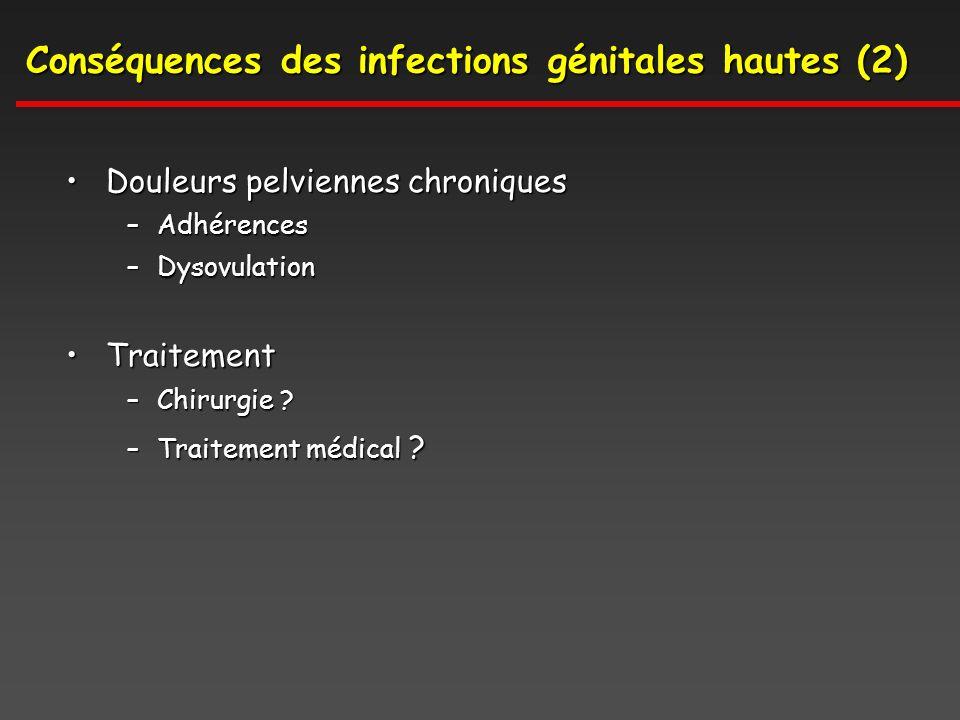 Conséquences des infections génitales hautes (2) Douleurs pelviennes chroniquesDouleurs pelviennes chroniques –Adhérences –Dysovulation TraitementTraitement –Chirurgie .