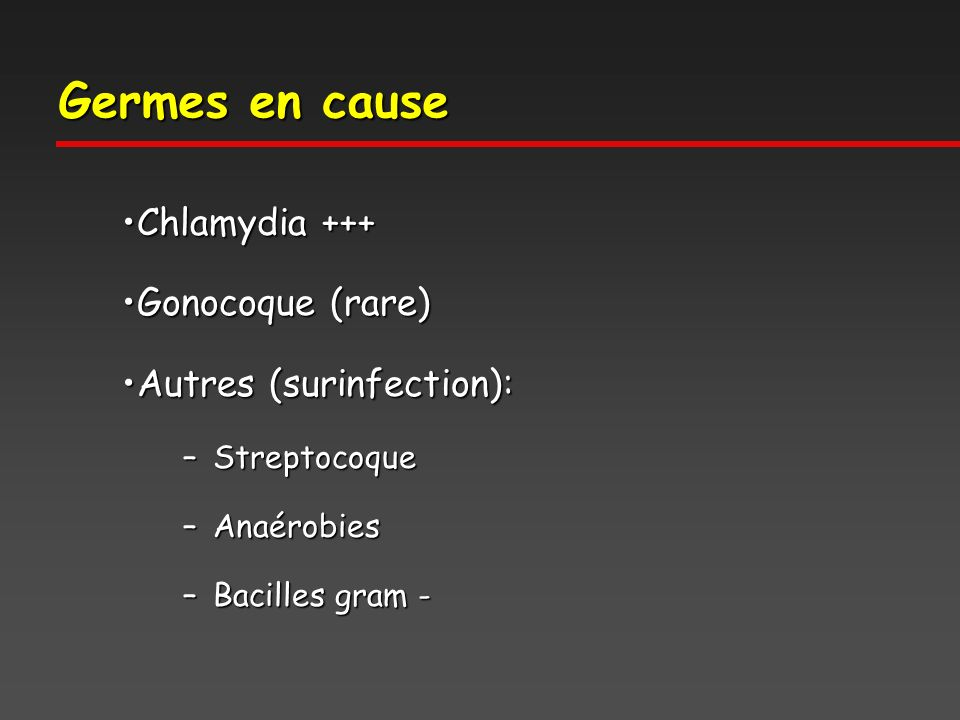 Germes en cause Chlamydia +++Chlamydia +++ Gonocoque (rare)Gonocoque (rare) Autres (surinfection):Autres (surinfection): –Streptocoque –Anaérobies –Ba