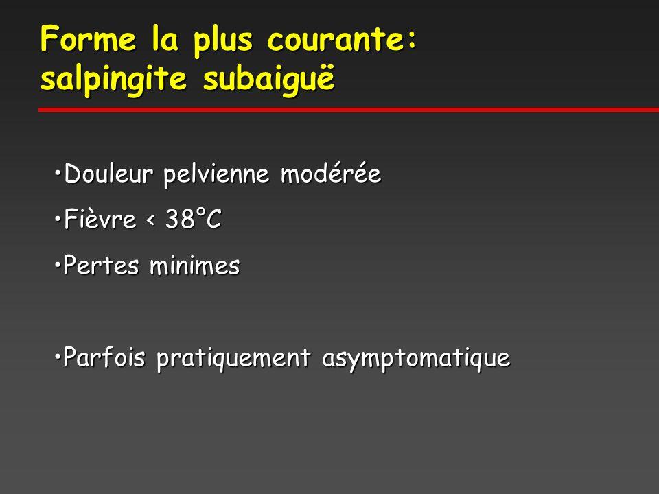Forme la plus courante: salpingite subaiguë Douleur pelvienne modéréeDouleur pelvienne modérée Fièvre < 38°CFièvre < 38°C Pertes minimesPertes minimes Parfois pratiquement asymptomatiqueParfois pratiquement asymptomatique