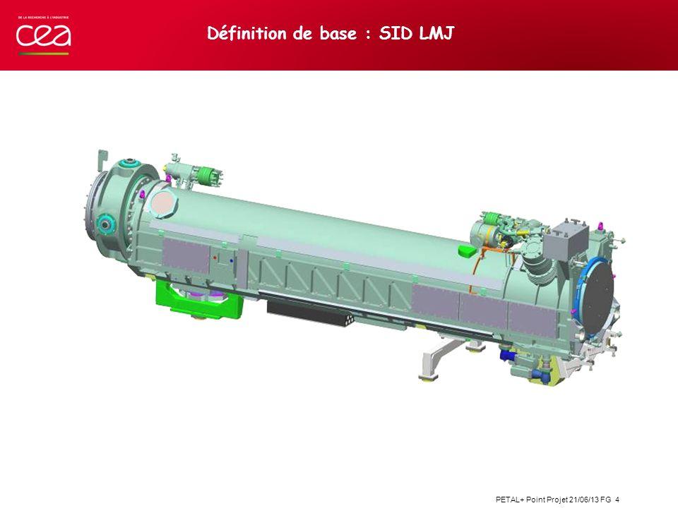 PETAL+ Point Projet 21/06/13 FG 15 Intégration dans le LMJ Utilisation des fluides en attentes et des EMM LMJ Véhicule Lourd (chariot de transport et de réglage des grands équipements)