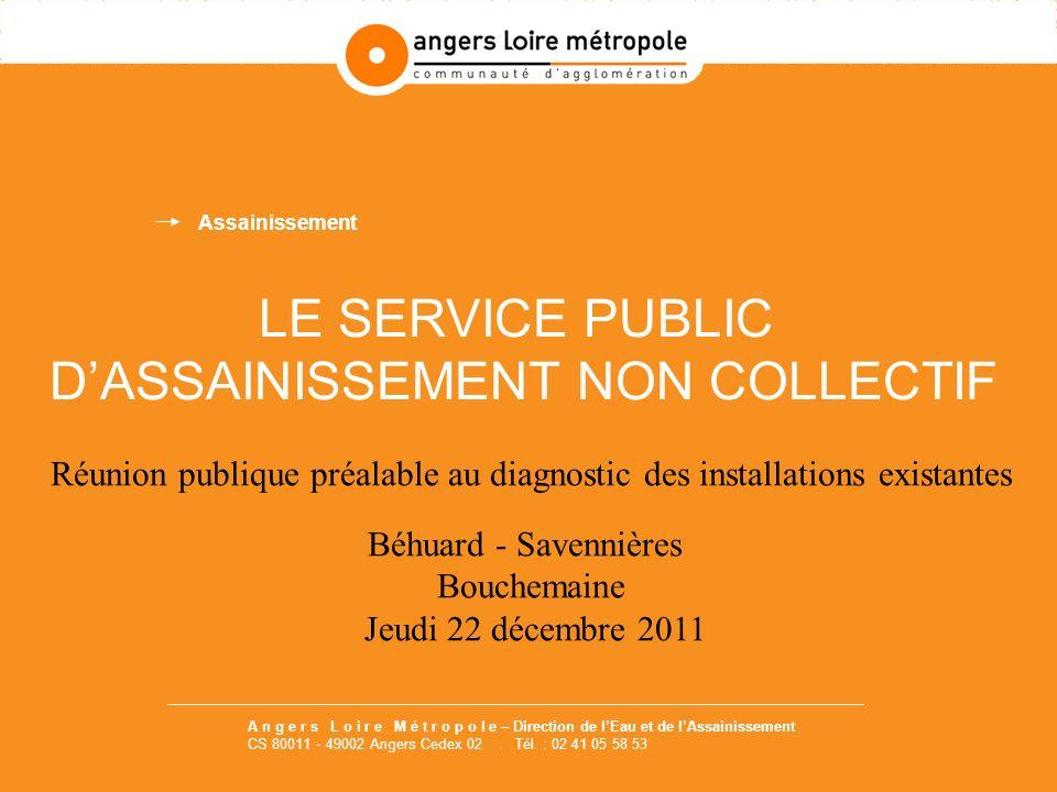 LE SERVICE PUBLIC DASSAINISSEMENT NON COLLECTIF Réunion publique préalable au diagnostic des installations existantes Béhuard - Savennières Bouchemain
