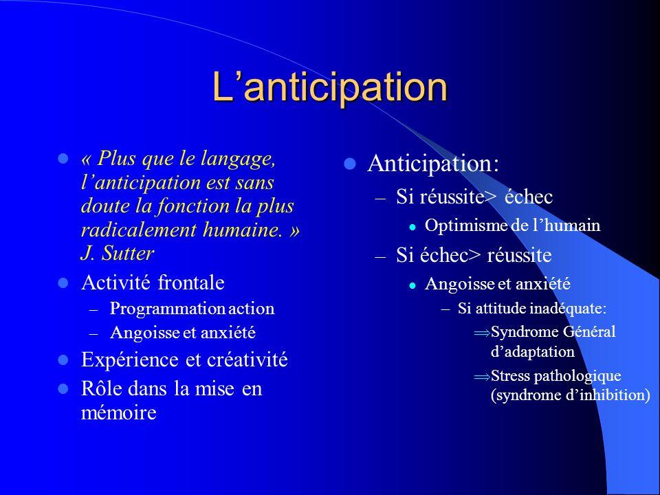 Lanticipation « Plus que le langage, lanticipation est sans doute la fonction la plus radicalement humaine. » J. Sutter Activité frontale – Programmat