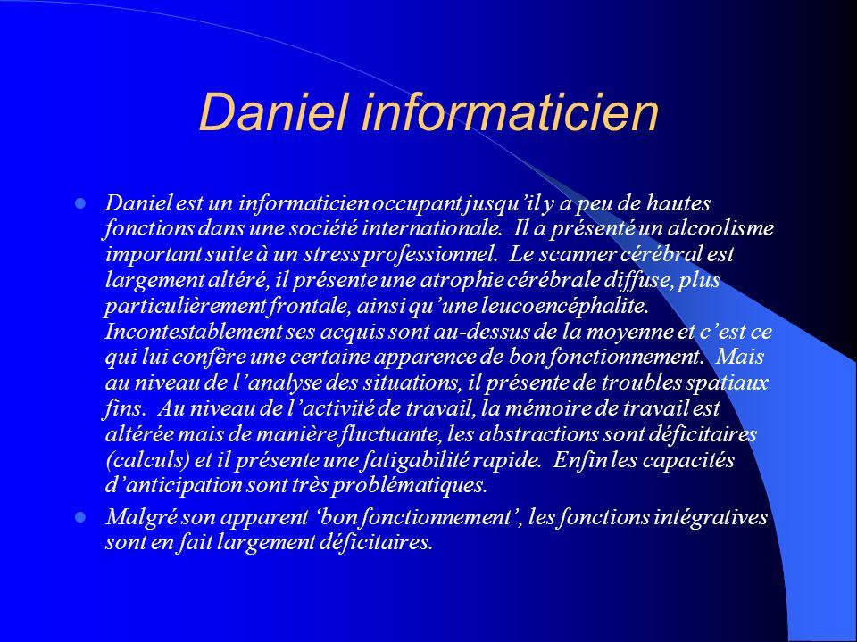 Daniel informaticien Daniel est un informaticien occupant jusquil y a peu de hautes fonctions dans une société internationale. Il a présenté un alcool