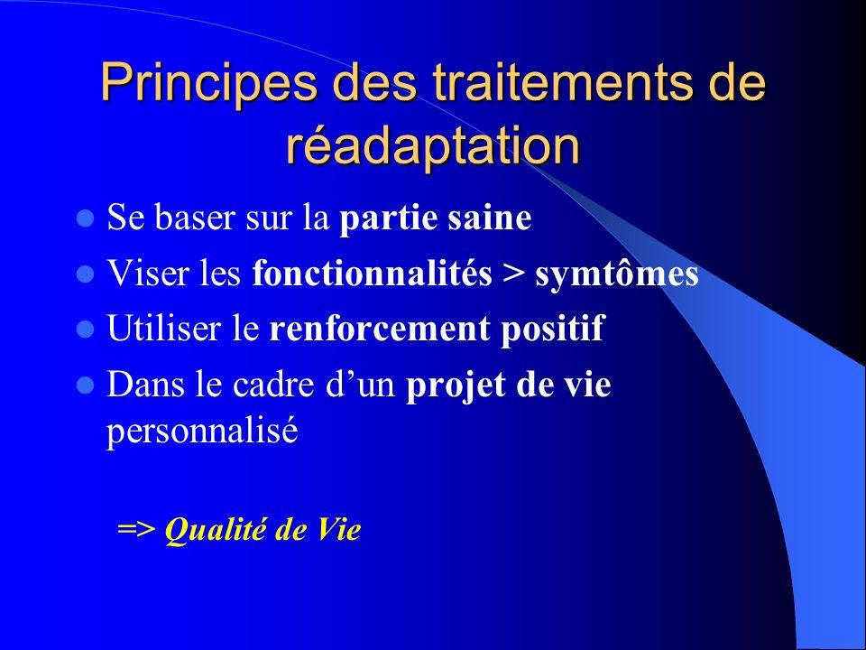 Principes des traitements de réadaptation Se baser sur la partie saine Viser les fonctionnalités > symtômes Utiliser le renforcement positif Dans le c