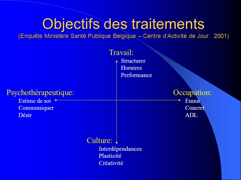 Objectifs des traitements (Enquête Ministère Santé Publique Belgique – Centre dActivité de Jour. 2001) Travail: Structurer Horaires Performance Occupa
