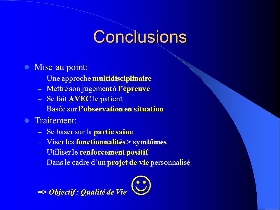 Conclusions Mise au point: – Une approche multidisciplinaire – Mettre son jugement à lépreuve – Se fait AVEC le patient – Basée sur lobservation en si