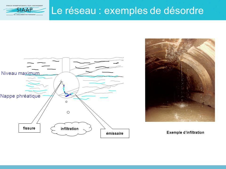 Le réseau : exemples de désordre Niveau maximum Nappe phréatique fissure émissaire infiltration Exemple dinfiltration