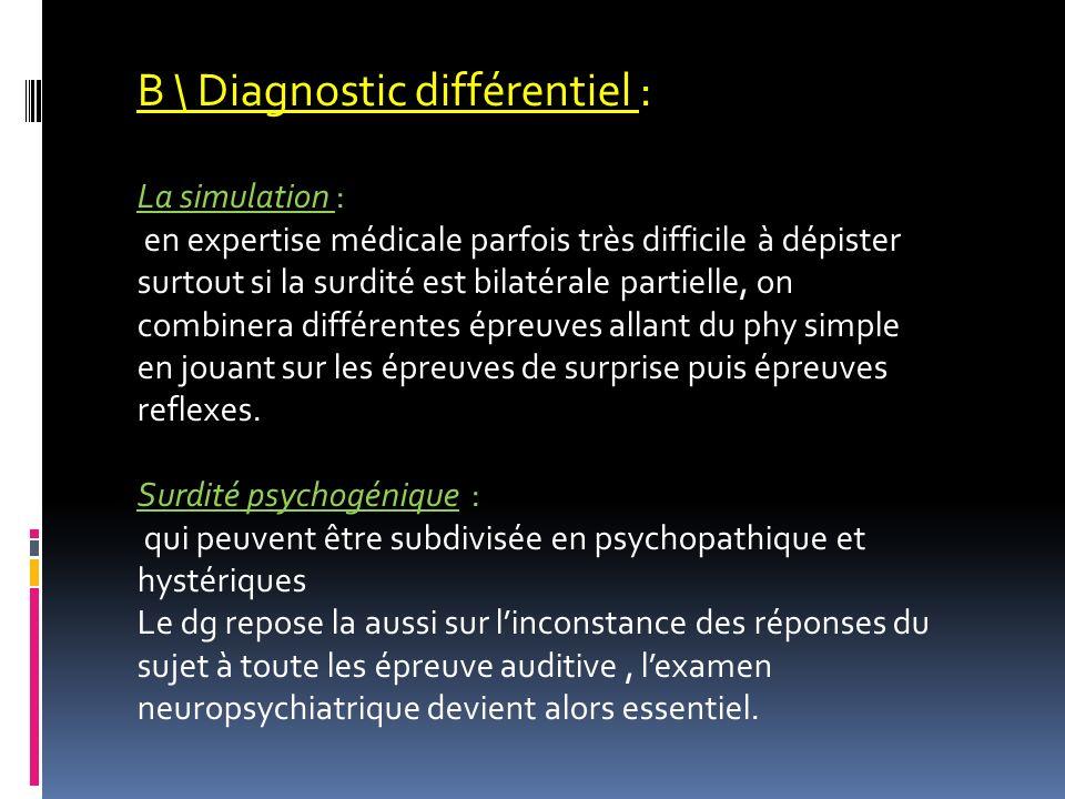 B \ Diagnostic différentiel : La simulation : en expertise médicale parfois très difficile à dépister surtout si la surdité est bilatérale partielle,