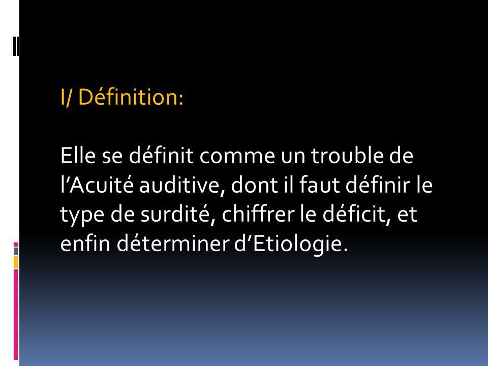 I/ Définition: Elle se définit comme un trouble de lAcuité auditive, dont il faut définir le type de surdité, chiffrer le déficit, et enfin déterminer