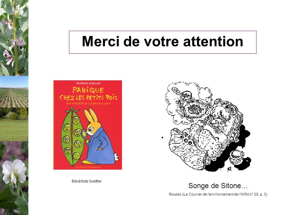 Merci de votre attention Songe de Sitone… Rousso (Le Courrier de l'environnement de l'INRA n° 25, p. 3) Bénédicte Guettier