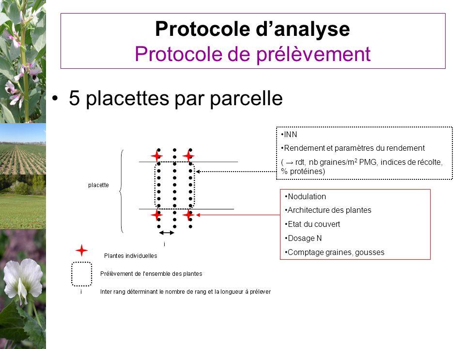 Protocole danalyse Protocole de prélèvement 5 placettes par parcelle Nodulation Architecture des plantes Etat du couvert Dosage N Comptage graines, go
