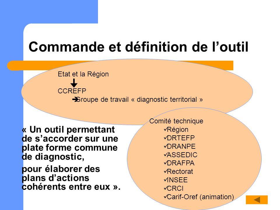 Etat et la Région CCREFP Groupe de travail « diagnostic territorial » Commande et définition de loutil Comité technique Région DRTEFP DRANPE ASSEDIC D