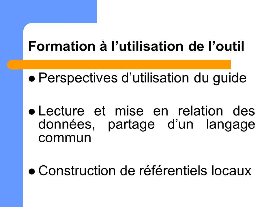 Formation à lutilisation de loutil Perspectives dutilisation du guide Lecture et mise en relation des données, partage dun langage commun Construction