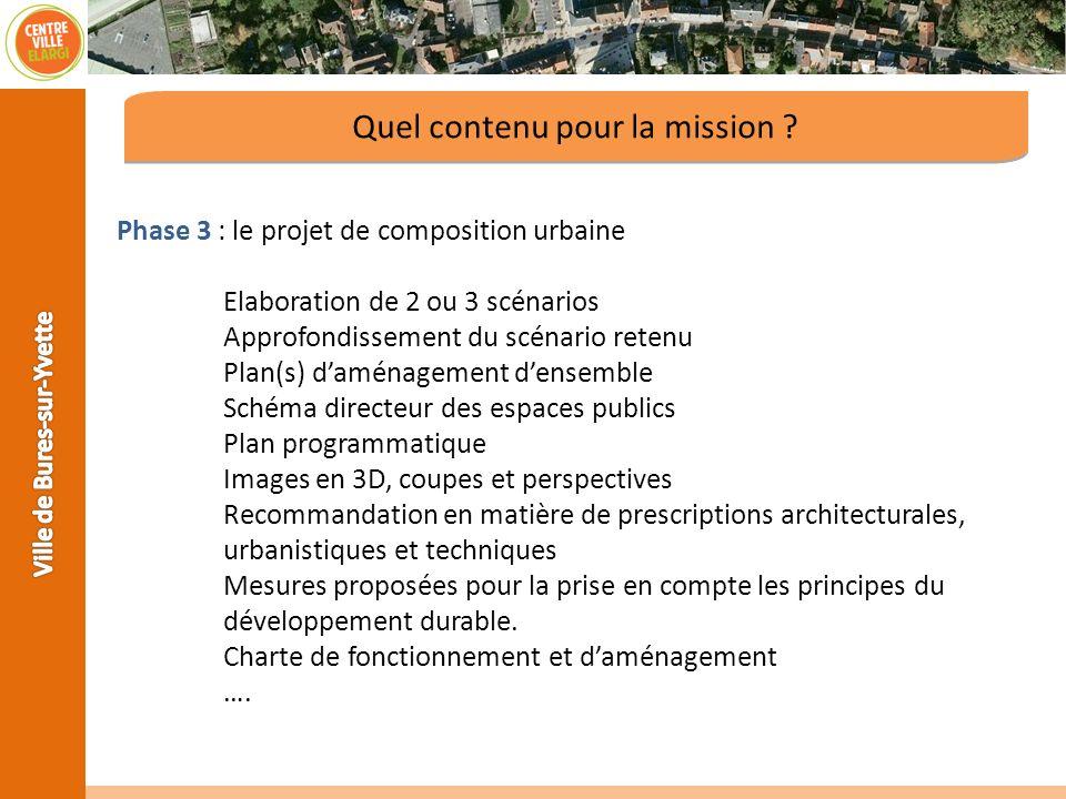 Phase 3 : le projet de composition urbaine Elaboration de 2 ou 3 scénarios Approfondissement du scénario retenu Plan(s) daménagement densemble Schéma