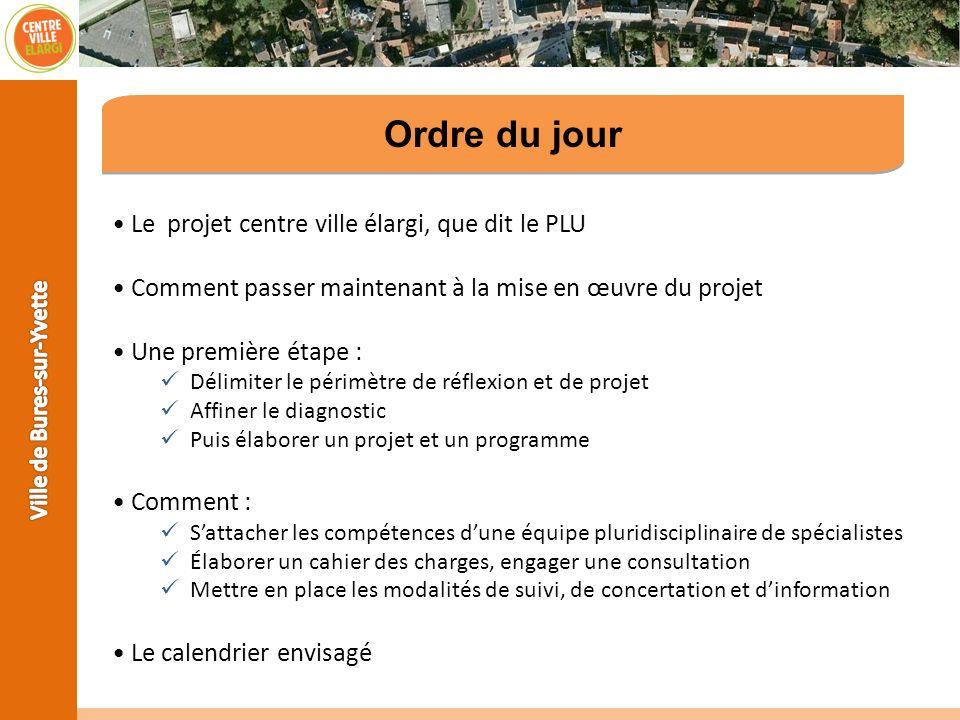 Ordre du jour Le projet centre ville élargi, que dit le PLU Comment passer maintenant à la mise en œuvre du projet Une première étape : Délimiter le p
