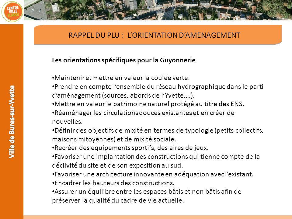 RAPPEL DU PLU : LORIENTATION DAMENAGEMENT Les orientations spécifiques pour la Guyonnerie Maintenir et mettre en valeur la coulée verte. Prendre en co