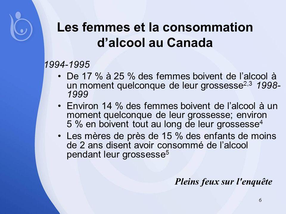 6 Les femmes et la consommation dalcool au Canada 1994-1995 De 17 % à 25 % des femmes boivent de lalcool à un moment quelconque de leur grossesse 2,3 1998- 1999 Environ 14 % des femmes boivent de lalcool à un moment quelconque de leur grossesse; environ 5 % en boivent tout au long de leur grossesse 4 Les mères de près de 15 % des enfants de moins de 2 ans disent avoir consommé de lalcool pendant leur grossesse 5 Pleins feux sur l enquête